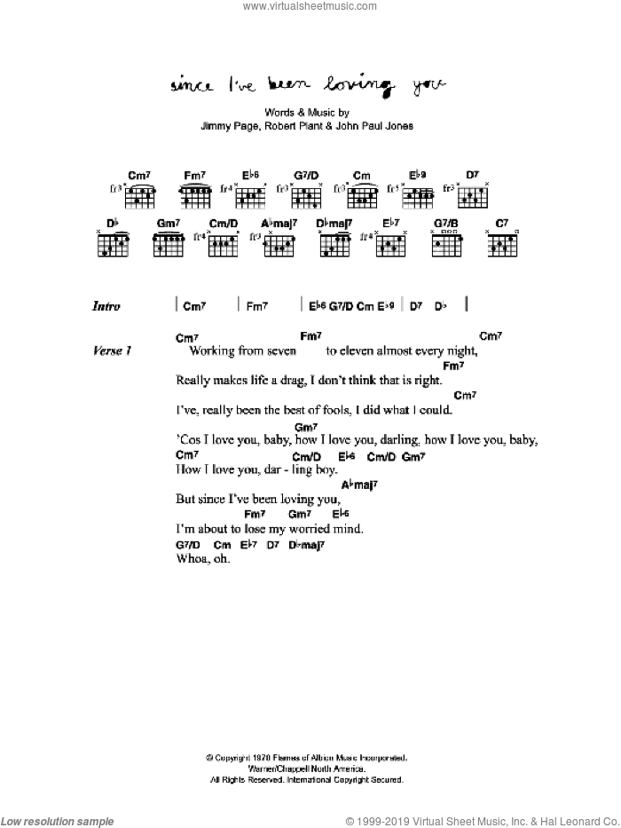 Since I've Been Loving You sheet music for guitar (chords) by Jimmy Page