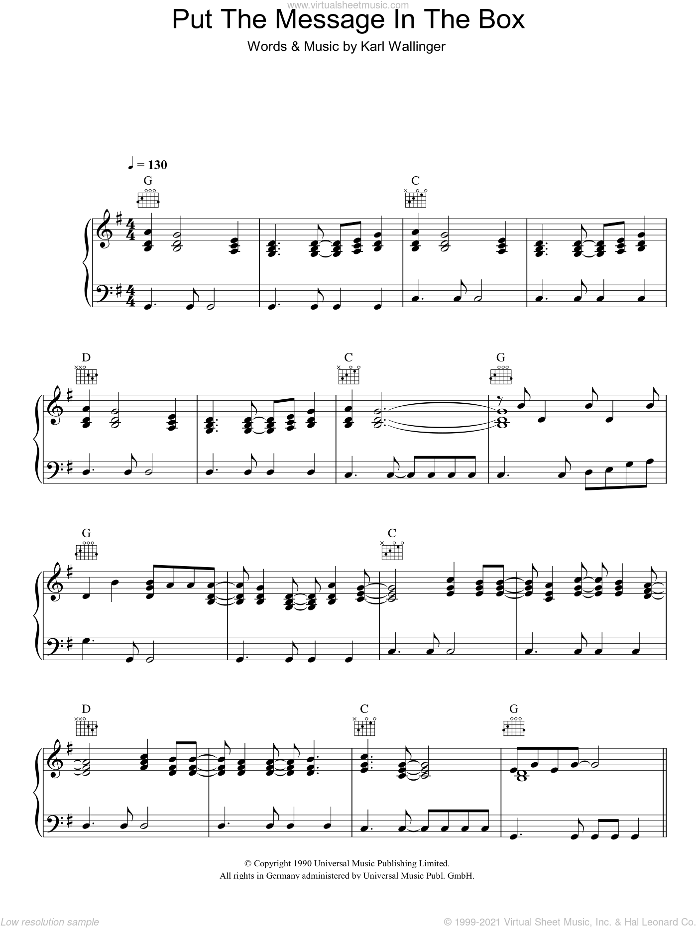 Put The Message In The Box sheet music for voice, piano or guitar by Karl Wallinger