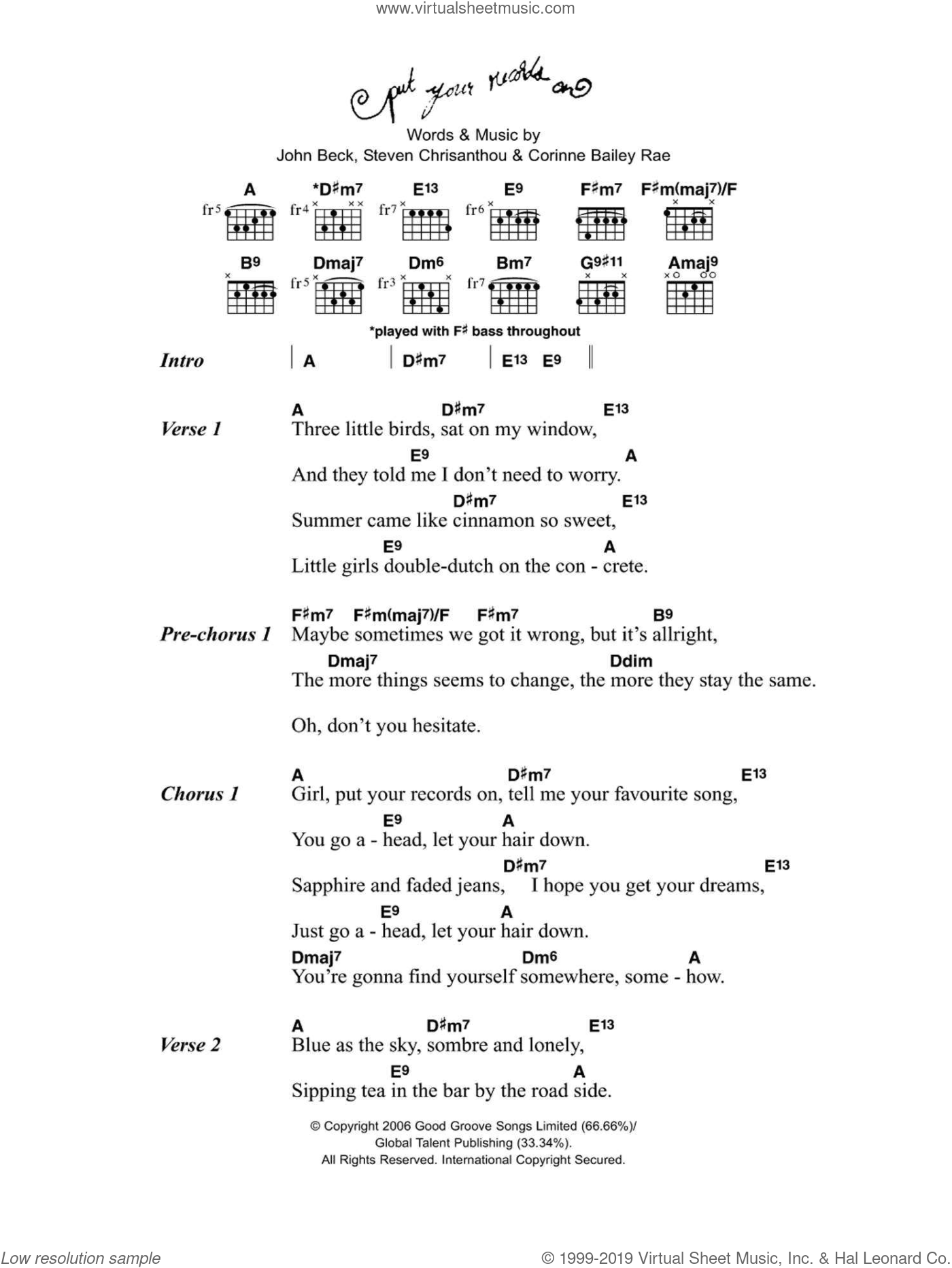 Put Your Records On sheet music for voice and other instruments (fake book) by Corinne Bailey Rae, John Beck and Steven Chrisanthou, intermediate. Score Image Preview.