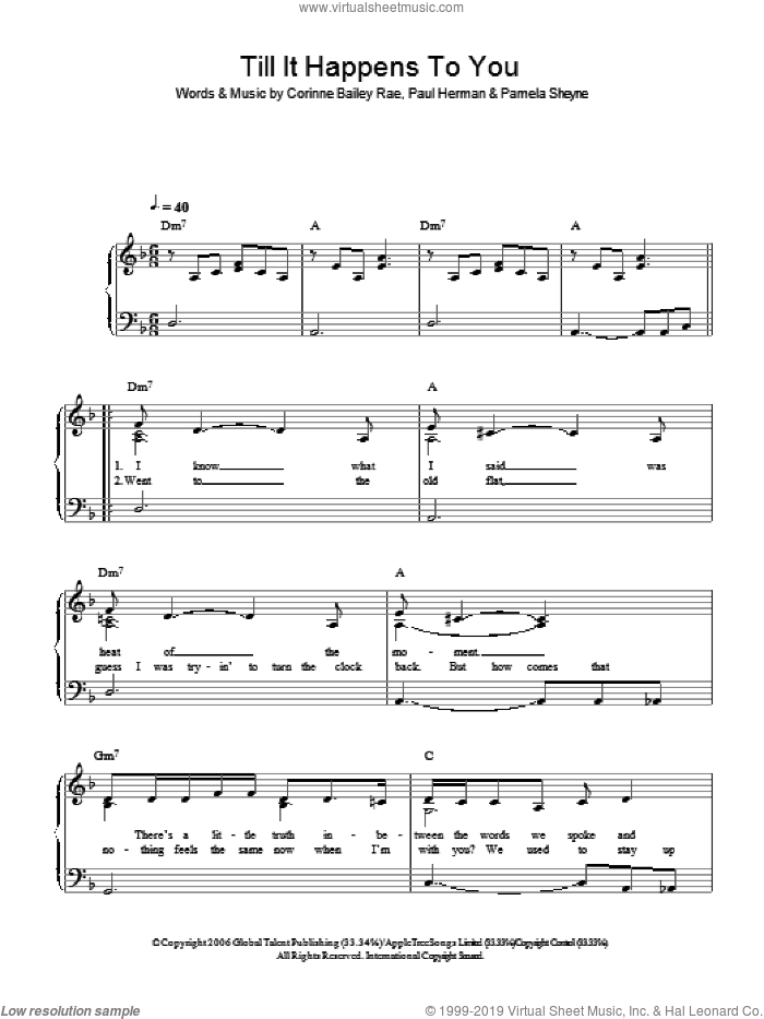 Till It Happens To You sheet music for piano solo by Pam Sheyne