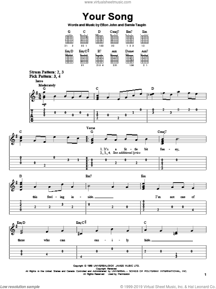 Your Song sheet music for guitar solo (easy tablature) by Bernie Taupin, Rod Stewart and Elton John. Score Image Preview.