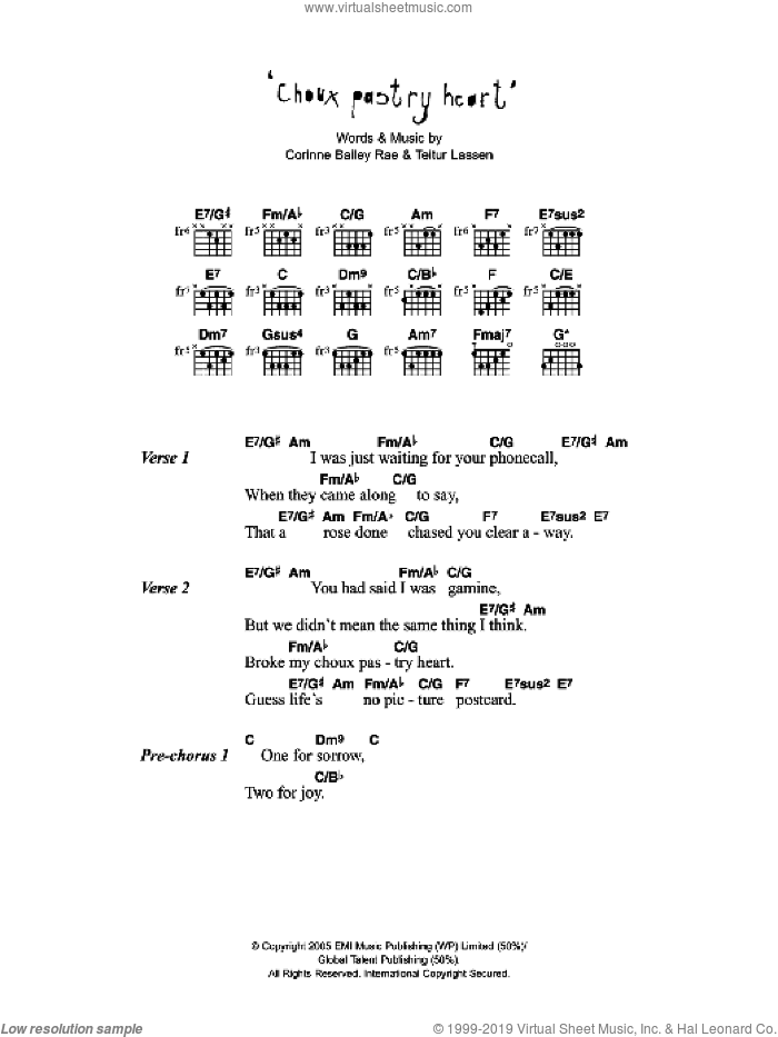 Choux Pastry Heart sheet music for guitar (chords) by Corinne Bailey Rae and Teitur Lassen, intermediate skill level