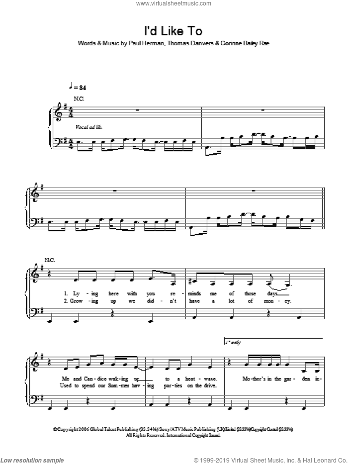 I'd Like To sheet music for piano solo by Corinne Bailey Rae and Paul Herman. Score Image Preview.