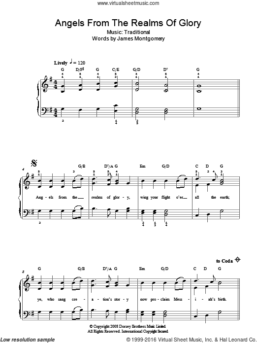 Angels From The Realms Of Glory sheet music for piano solo  and James Montgomery. Score Image Preview.