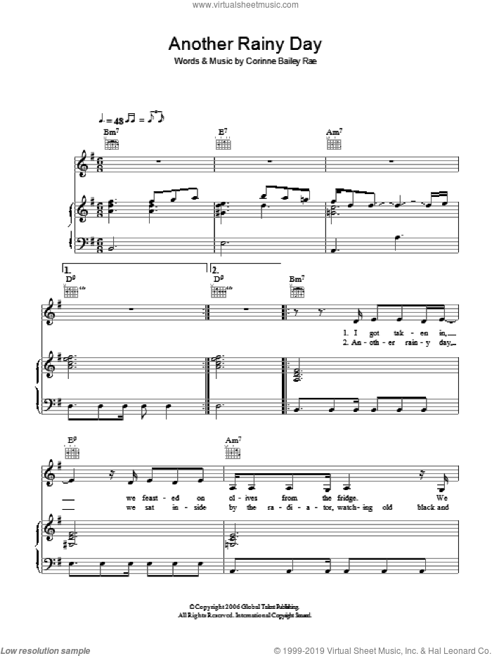 Another Rainy Day sheet music for voice, piano or guitar by Corinne Bailey Rae, intermediate skill level