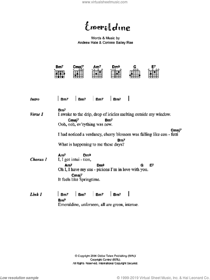 Emeraldine sheet music for guitar (chords) by Corinne Bailey Rae and Andrew Hale, intermediate
