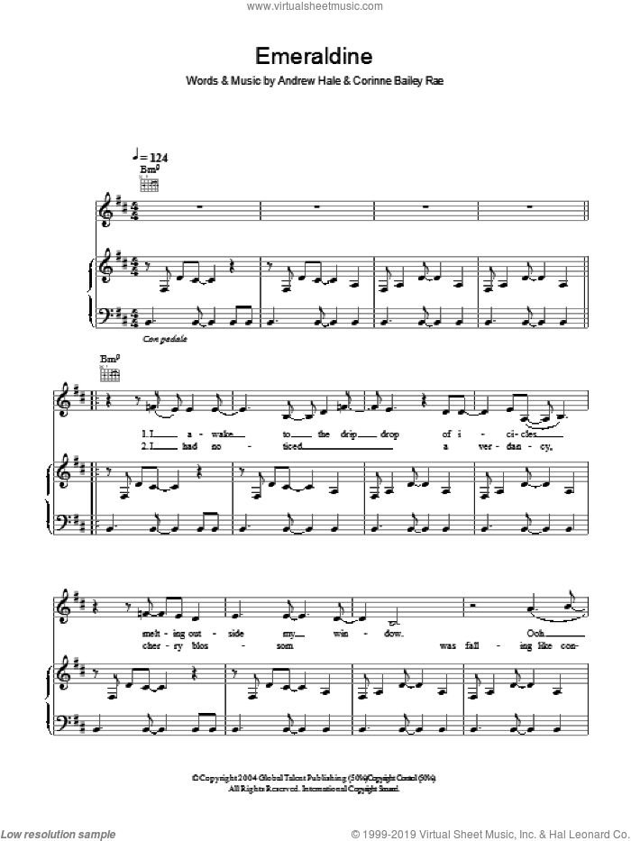 Emeraldine sheet music for voice, piano or guitar by Corinne Bailey Rae and Andrew Hale, intermediate skill level
