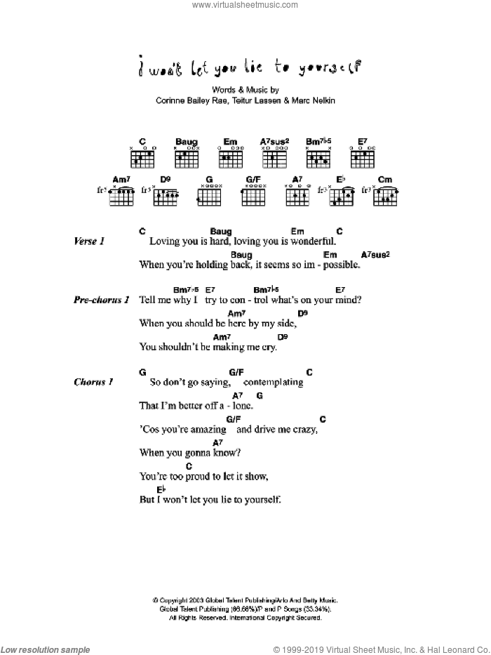 I Won't Let You Lie To Yourself sheet music for guitar (chords) by Marc Nelkin, Corinne Bailey Rae and Teitur Lassen. Score Image Preview.