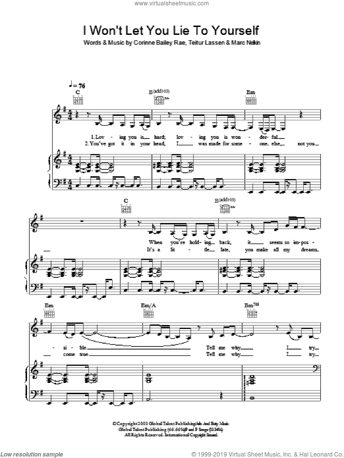I Won't Let You Lie To Yourself sheet music for voice, piano or guitar by Corinne Bailey Rae, intermediate. Score Image Preview.