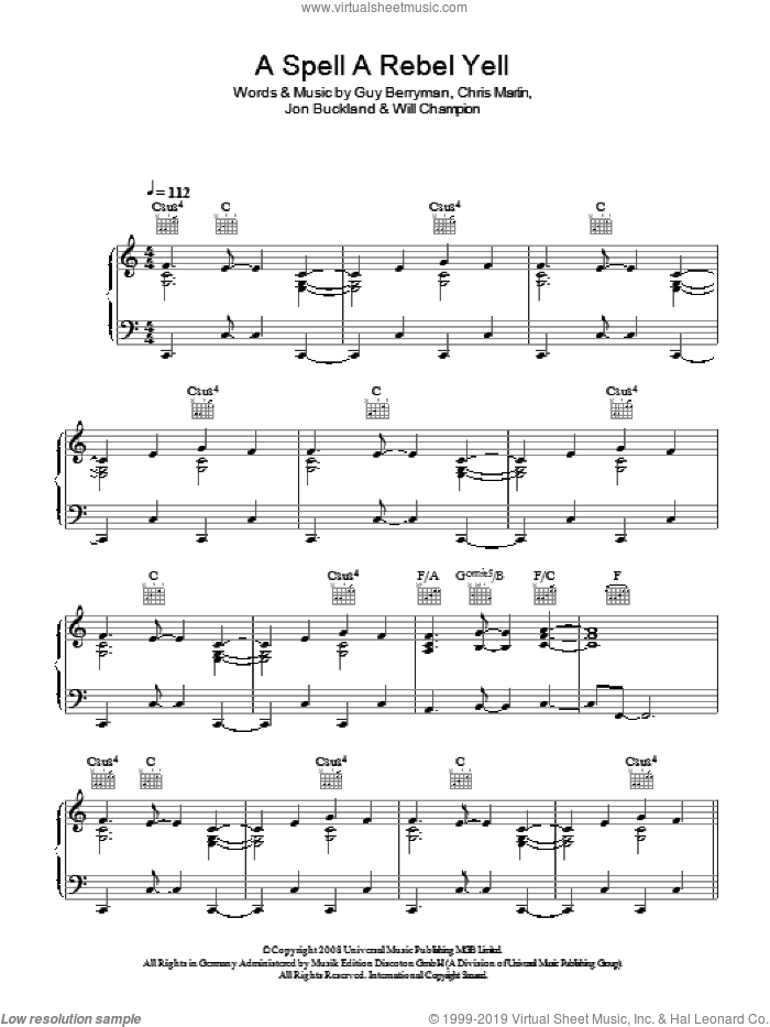 A Spell A Rebel Yell sheet music for voice, piano or guitar by Coldplay, Chris Martin, Guy Berryman, Jon Buckland and Will Champion, intermediate skill level