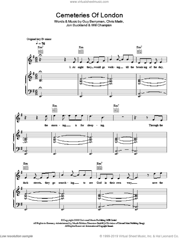 Cemeteries Of London sheet music for voice, piano or guitar by Chris Martin, Coldplay, Guy Berryman, Jon Buckland and Will Champion. Score Image Preview.