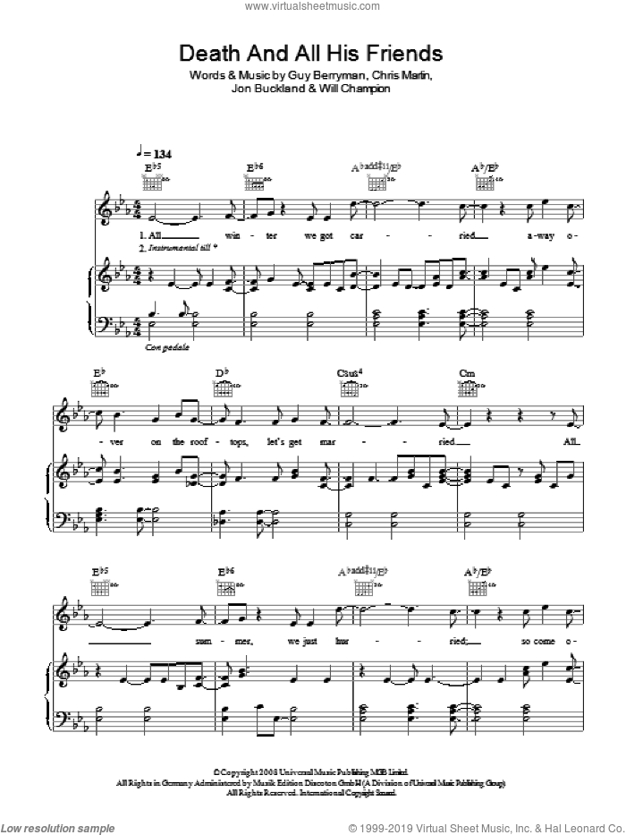 Death And All His Friends sheet music for voice, piano or guitar by Chris Martin, Coldplay, Guy Berryman, Jon Buckland and Will Champion. Score Image Preview.