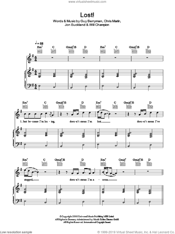Lost! sheet music for voice, piano or guitar by Chris Martin