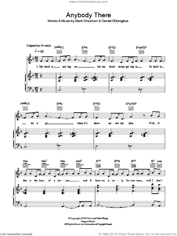 Anybody There sheet music for voice, piano or guitar by The Script and Mark Sheehan, intermediate skill level