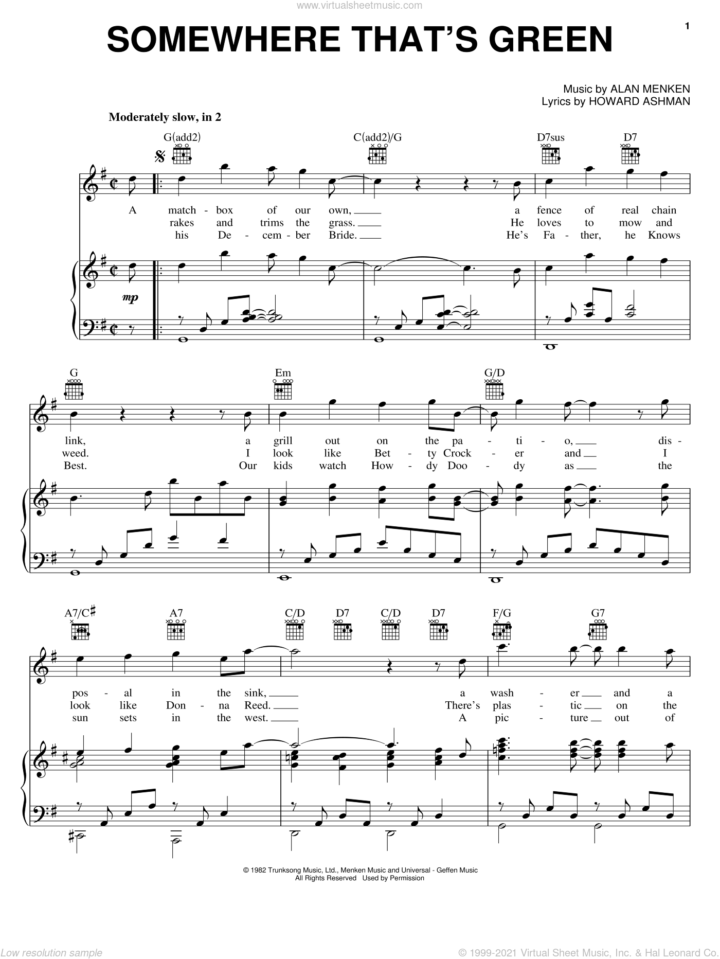 Somewhere That's Green sheet music for voice, piano or guitar by Alan Menken and Howard Ashman. Score Image Preview.