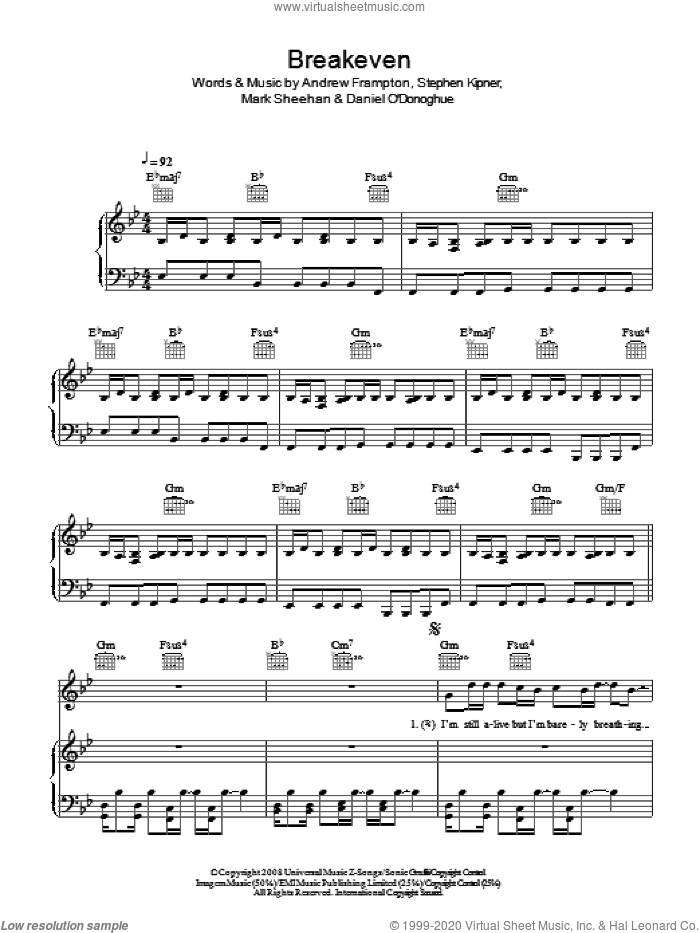 Breakeven sheet music for voice, piano or guitar by Andrew Frampton, The Script, Mark Sheehan and Steve Kipner. Score Image Preview.