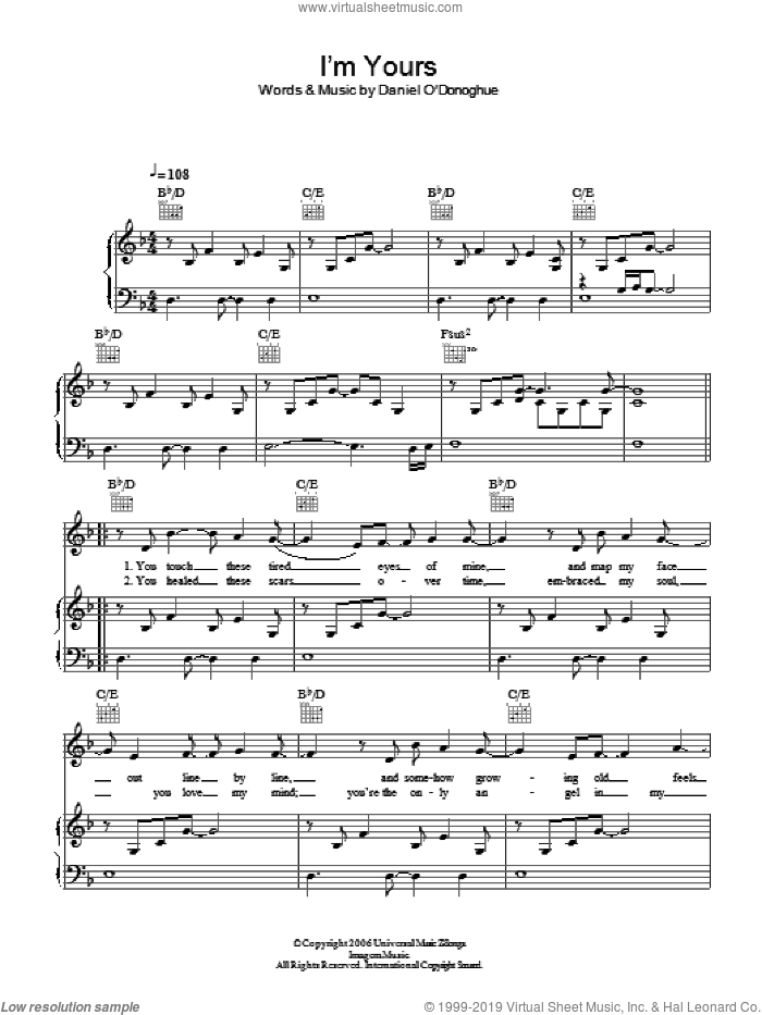 I'm Yours sheet music for voice, piano or guitar by Daniel O'Donoghue and The Script. Score Image Preview.
