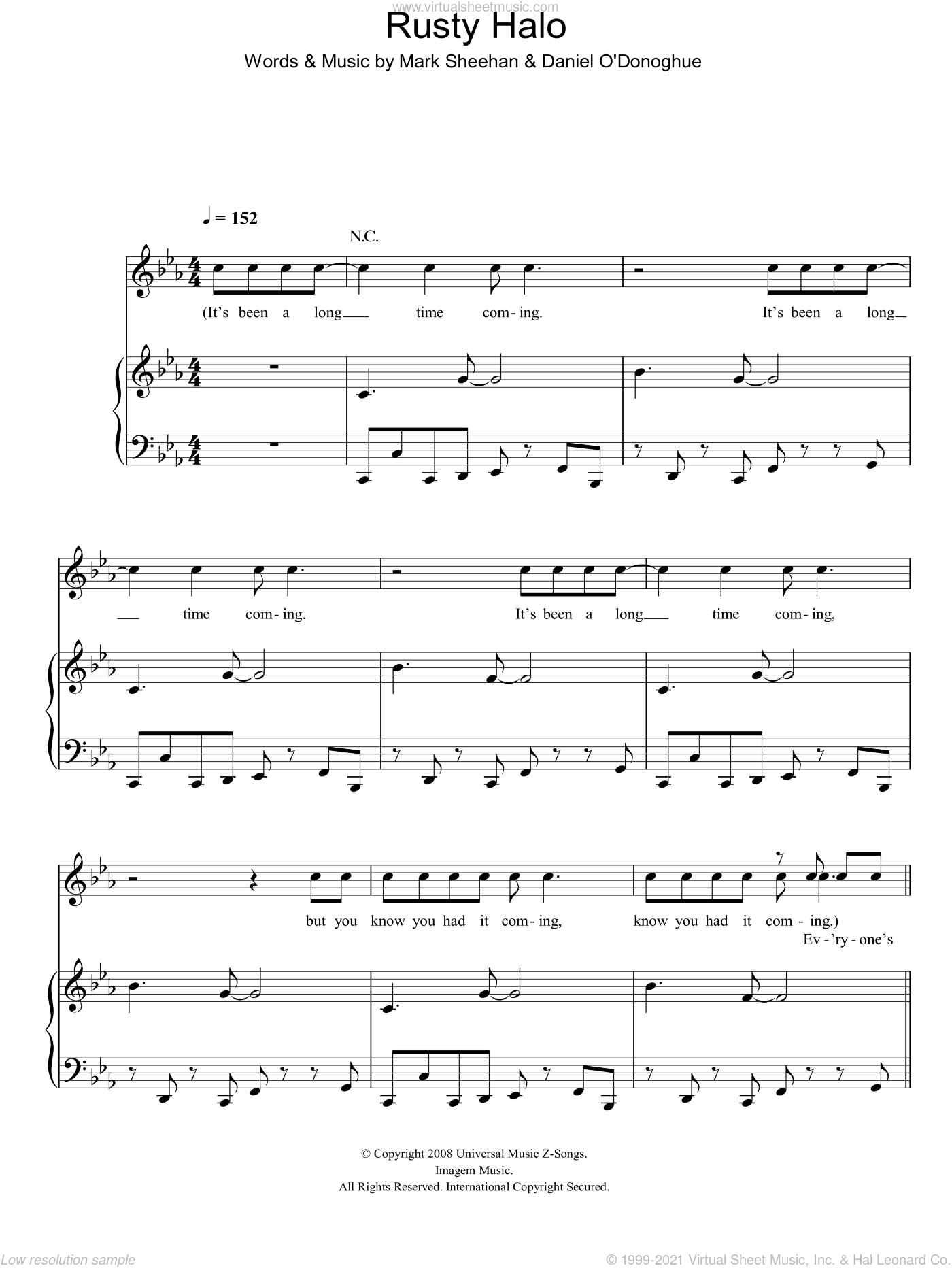 Rusty Halo sheet music for voice, piano or guitar by Daniel O'Donoghue, The Script and Mark Sheehan. Score Image Preview.