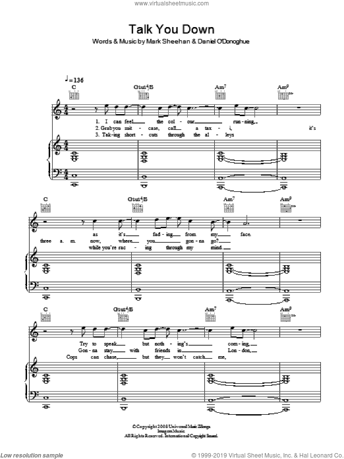 Talk You Down sheet music for voice, piano or guitar by The Script and Mark Sheehan, intermediate. Score Image Preview.