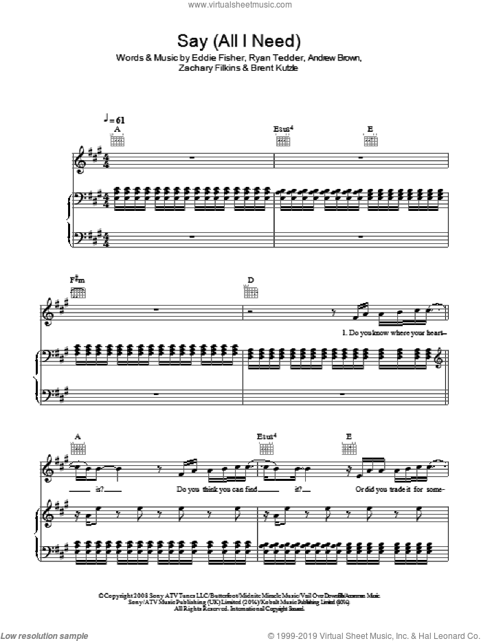 Say (All I Need) sheet music for voice, piano or guitar by Andrew Brown, OneRepublic, Brent Kutzle, Eddie Fisher, Ryan Tedder and Zack Filkins, intermediate skill level