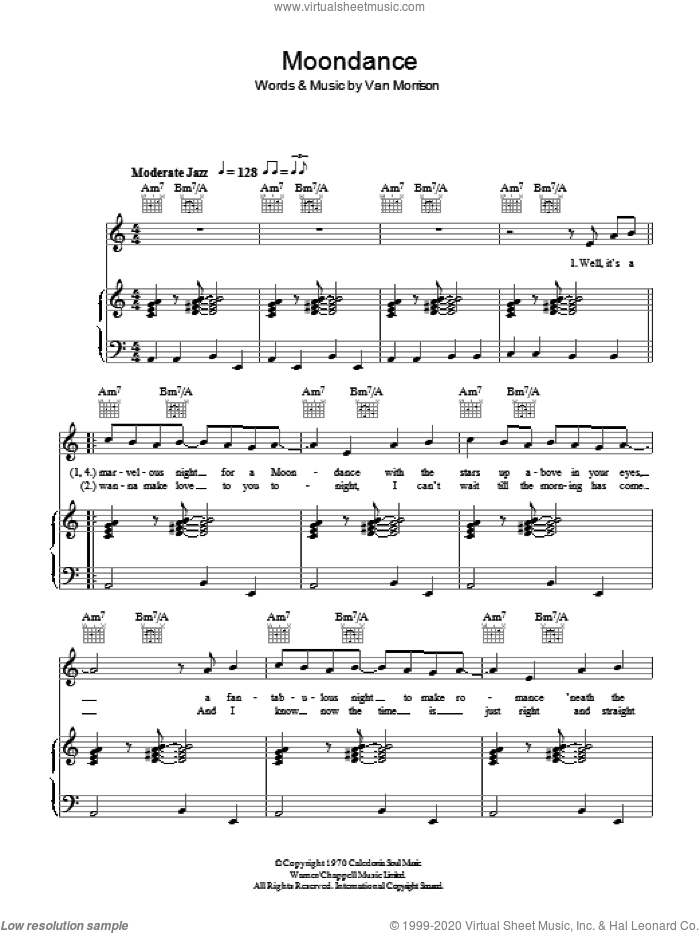 Moondance sheet music for voice, piano or guitar by Van Morrison. Score Image Preview.