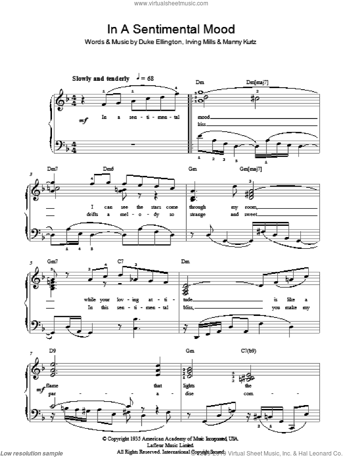 In A Sentimental Mood sheet music for piano solo by Duke Ellington, Irving Mills and Manny Kurtz. Score Image Preview.