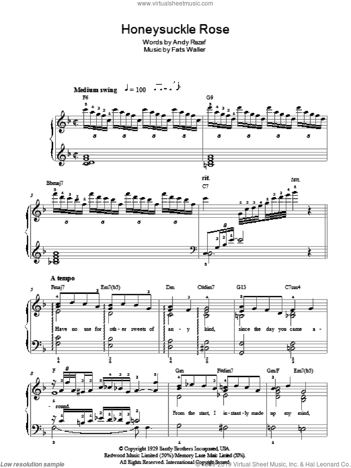 Honeysuckle Rose sheet music for piano solo by Fats Waller, Thomas Waller and Andy Razaf, easy piano. Score Image Preview.
