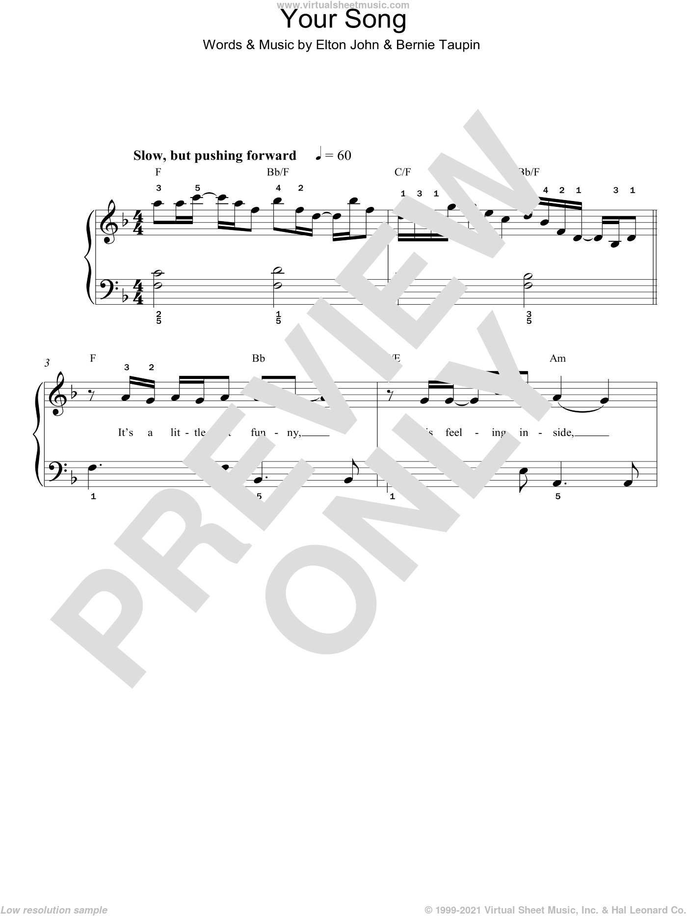 John - Your Song, (easy) sheet music for piano solo [PDF]
