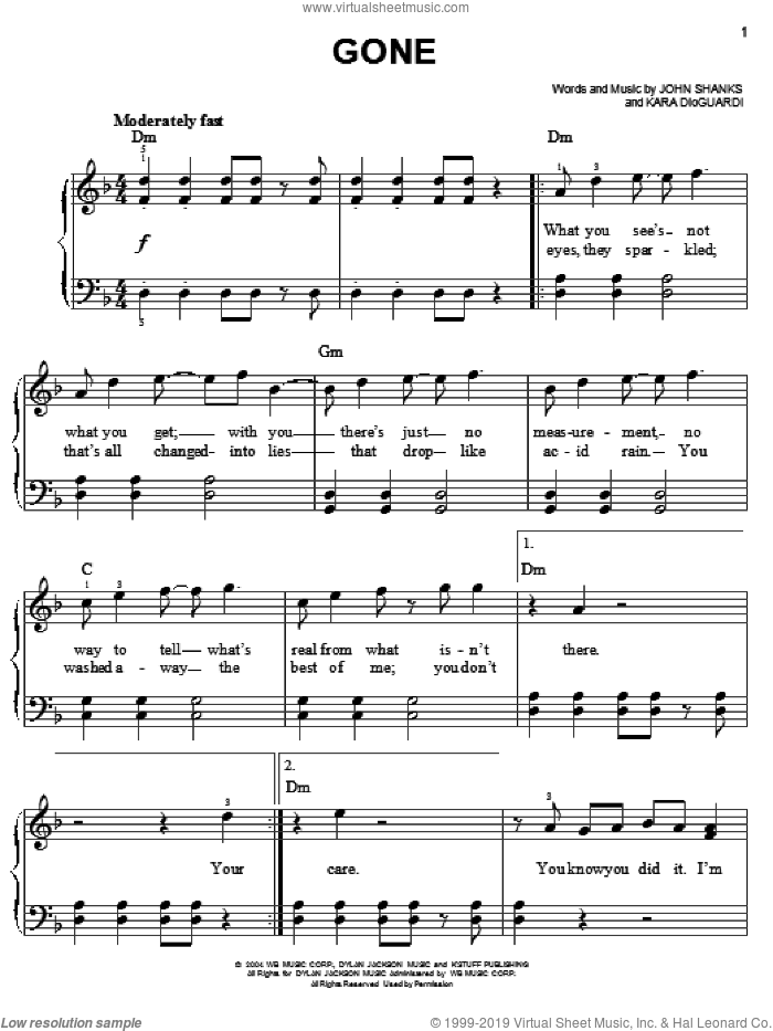 Gone sheet music for piano solo by Kelly Clarkson, John Shanks and Kara DioGuardi, easy skill level