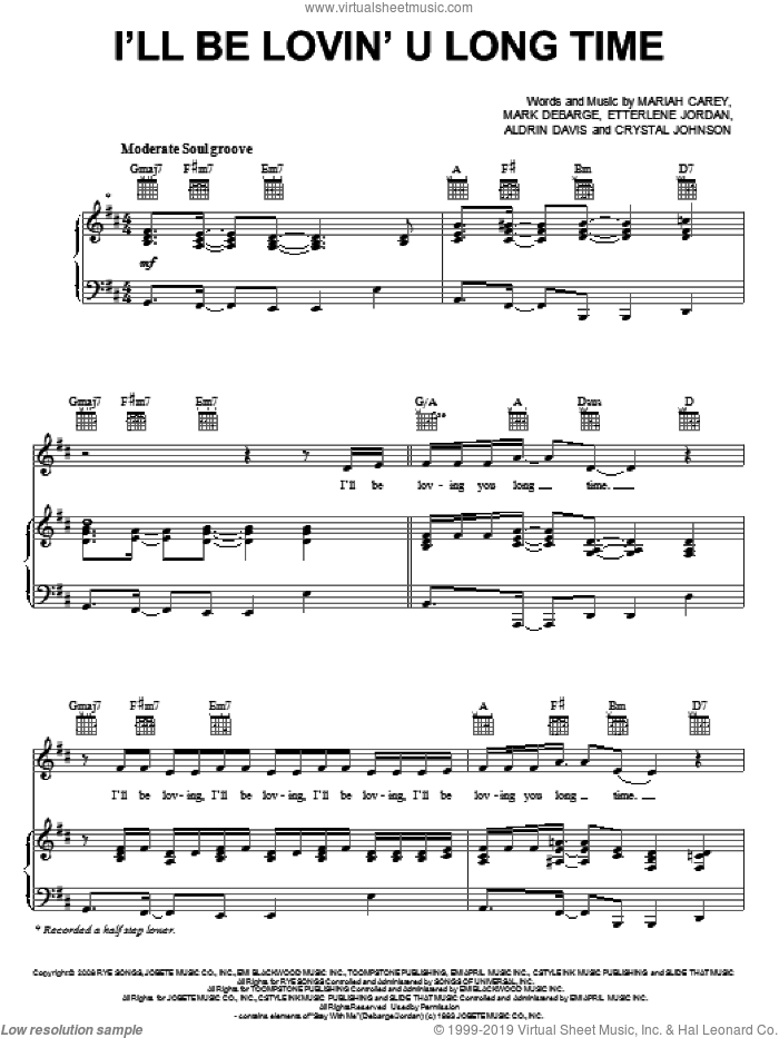 I'll Be Lovin' U Long Time sheet music for voice, piano or guitar by Mariah Carey, intermediate. Score Image Preview.