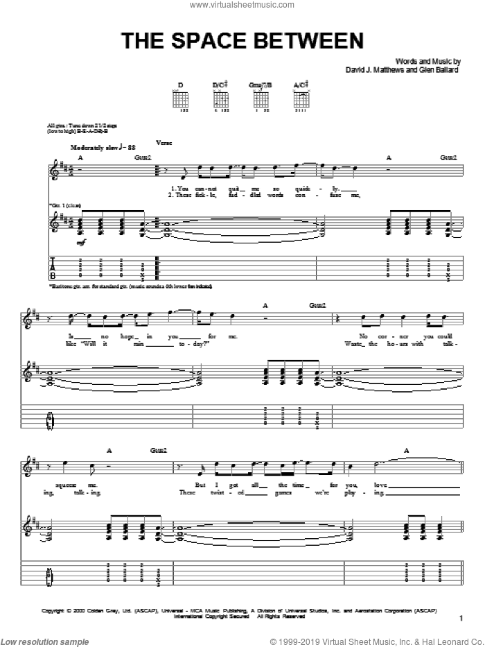 The Space Between sheet music for guitar solo (chords) by Dave Matthews Band and Glen Ballard, easy guitar (chords)
