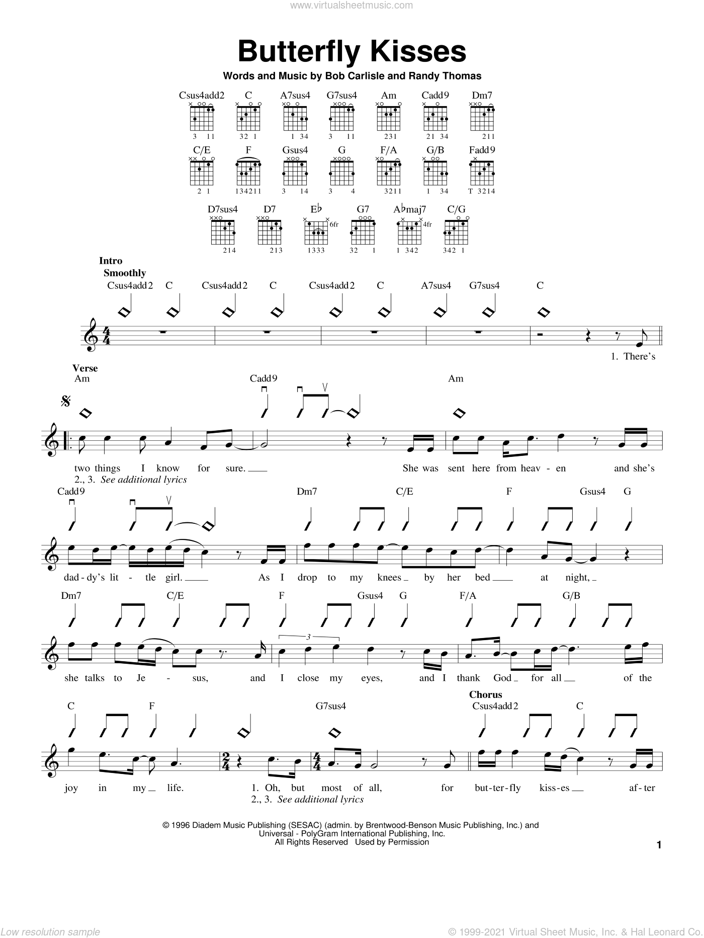 Butterfly Kisses sheet music for guitar solo (chords) by Randy Thomas, Jeff Carson and Bob Carlisle. Score Image Preview.