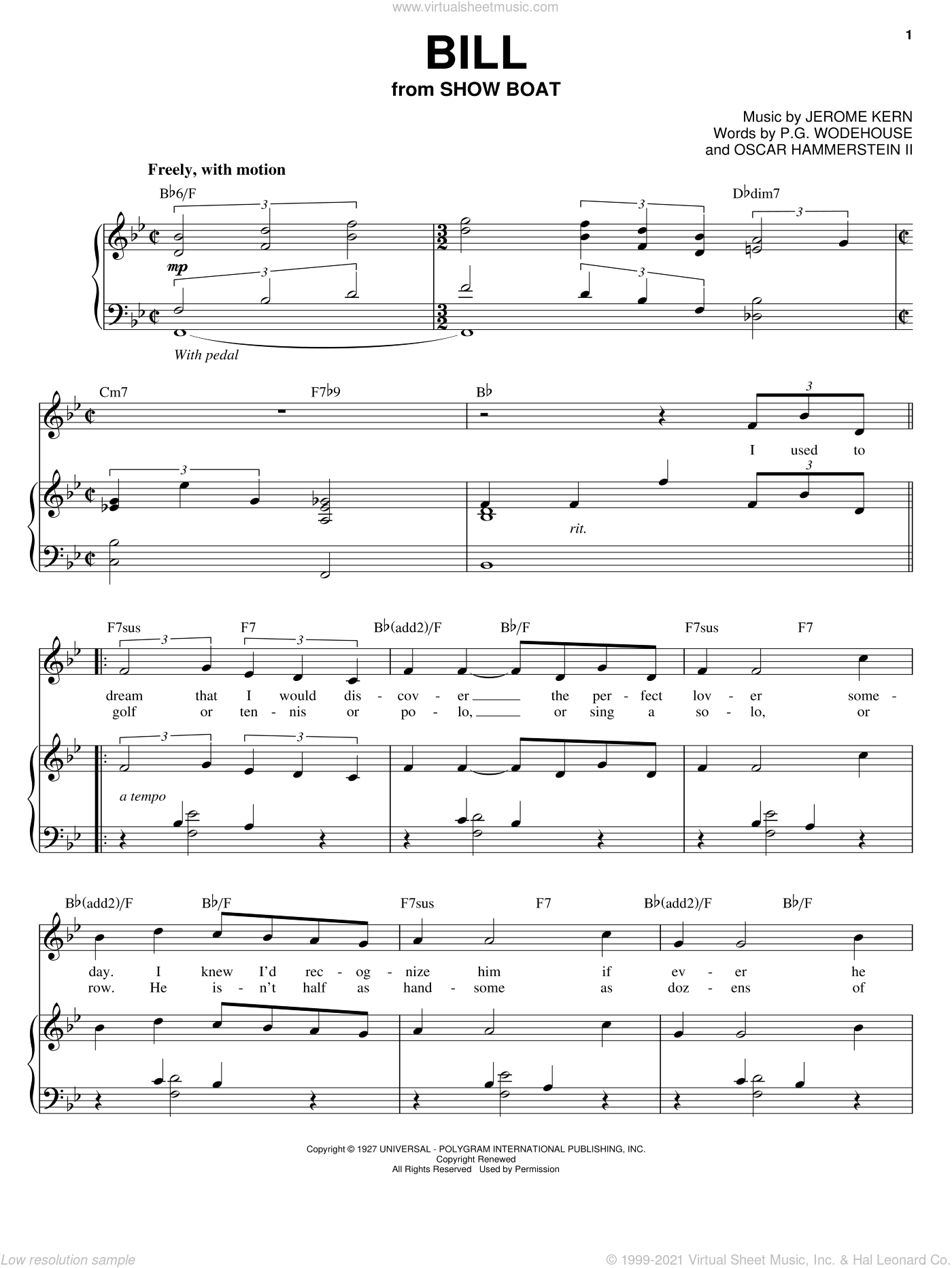 Bill sheet music for voice, piano or guitar by P.G. Wodehouse, Audra McDonald, Peggy Lee, Jerome Kern and Oscar II Hammerstein. Score Image Preview.