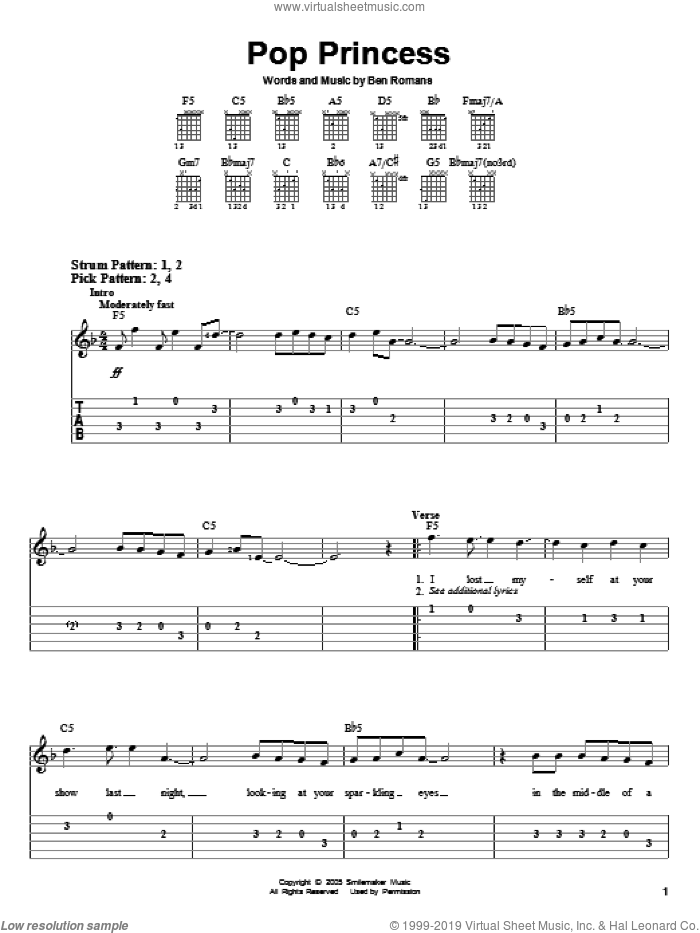 Pop Princess sheet music for guitar solo (easy tablature) by The Click Five, Hannah Montana and Ben Romans, easy guitar (easy tablature)