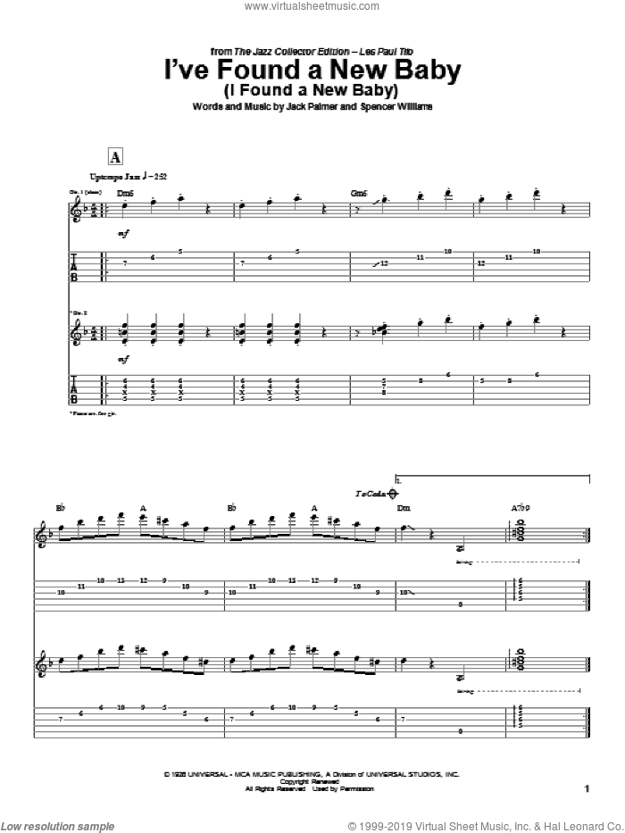 I've Found A New Baby (I Found A New Baby) sheet music for guitar (tablature) by Spencer Williams, Les Paul and Jack Palmer. Score Image Preview.