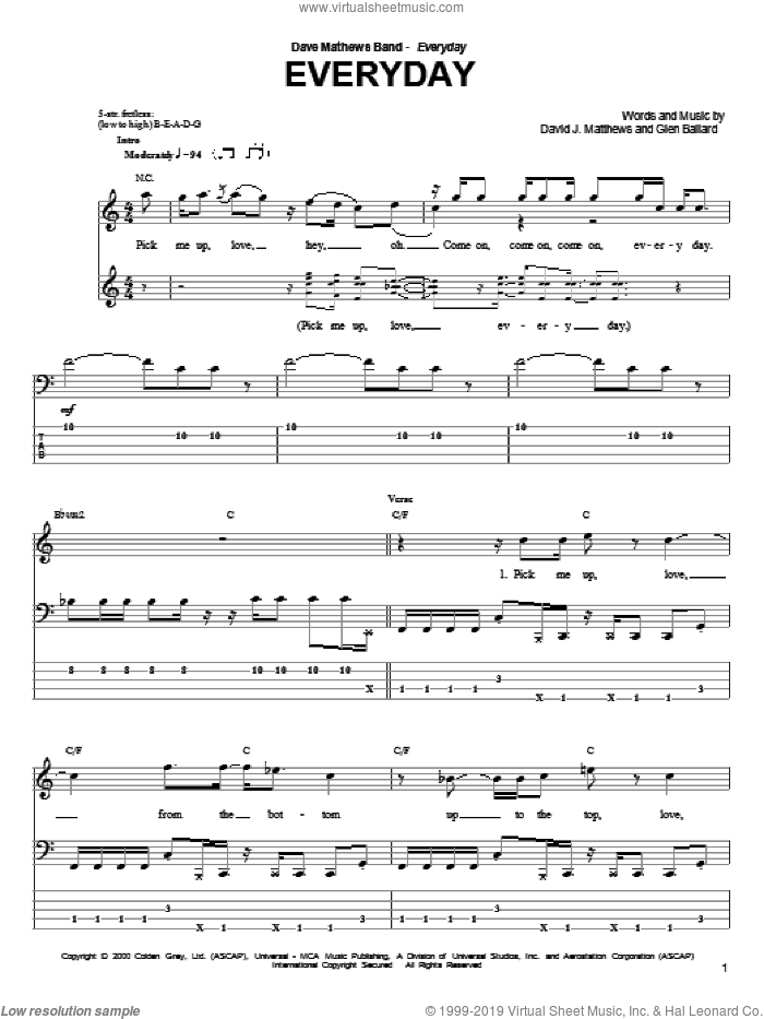 Everyday sheet music for bass (tablature) (bass guitar) by Glen Ballard and Dave Matthews Band. Score Image Preview.