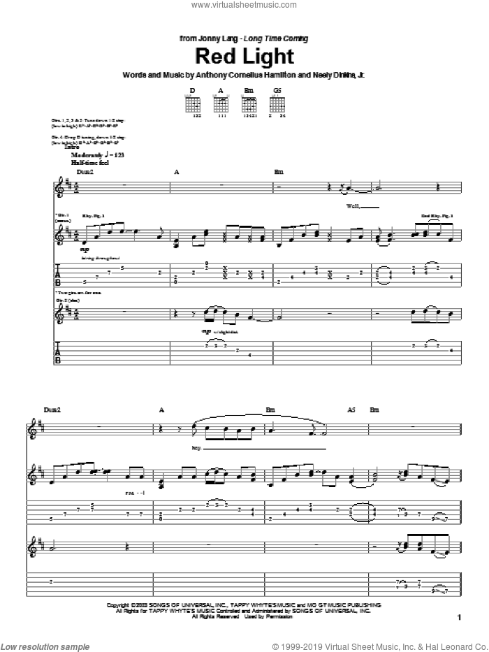 Red Light sheet music for guitar (tablature) by Jonny Lang. Score Image Preview.