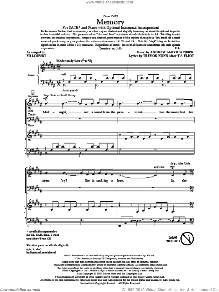 Memory (from Cats) sheet music for choir and piano (SATB) by Andrew Lloyd Webber, Ed Lojeski, T.S. Eliot and Trevor Nunn. Score Image Preview.