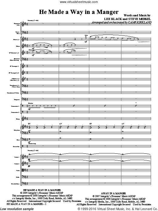 He Made A Way In A Manger (COMPLETE) sheet music for orchestra by Steve Merkel and Camp Kirkland. Score Image Preview.