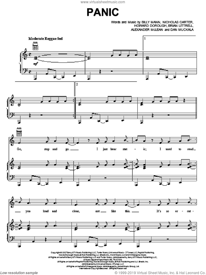 Panic sheet music for voice, piano or guitar by Nicholas Carter, Backstreet Boys, Billy Mann and Dan Muckala. Score Image Preview.