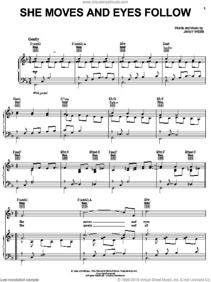 She Moves And Eyes Follow sheet music for voice, piano or guitar by Jimmy Webb