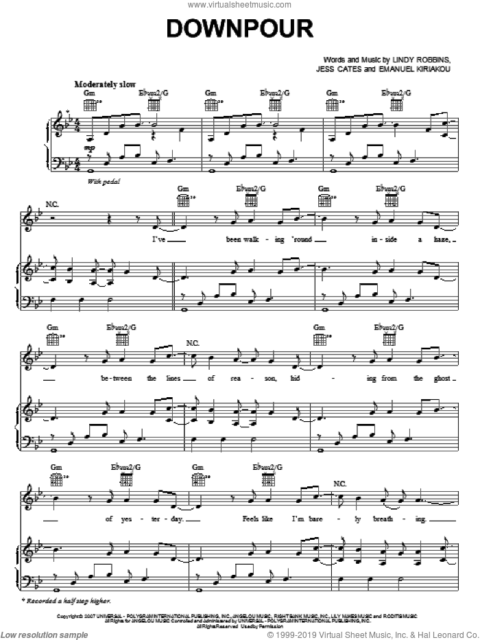 Downpour sheet music for voice, piano or guitar by Backstreet Boys, Emanuel Kiriakou, Jess Cates and Lindy Robbins, intermediate skill level