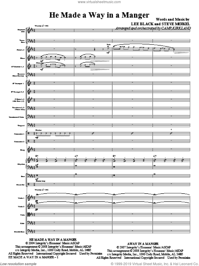 He Made A Way In A Manger (COMPLETE) sheet music for orchestra/band (Orchestra) by Steve Merkel, Lee Black and Camp Kirkland, intermediate skill level