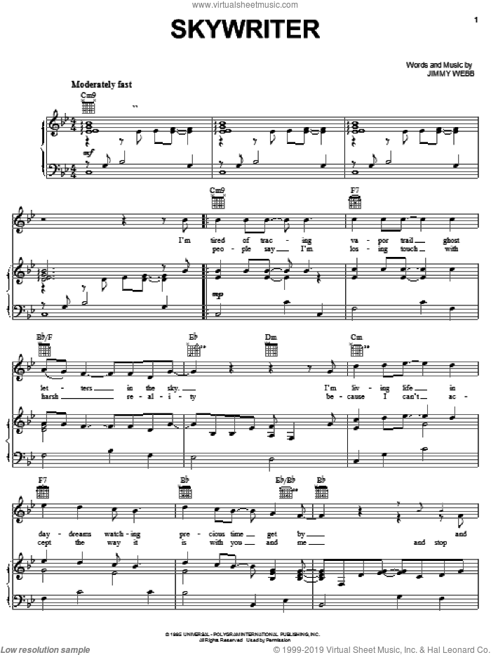 Skywriter sheet music for voice, piano or guitar by Jimmy Webb and Michael Feinstein. Score Image Preview.