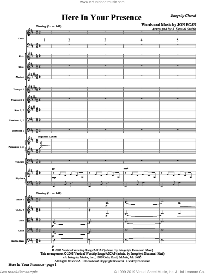 Here In Your Presence (COMPLETE) sheet music for orchestra/band (Orchestra) by Jon Egan and J. Daniel Smith, intermediate skill level