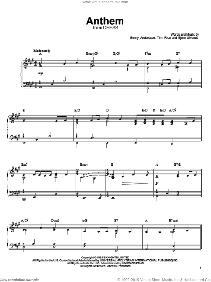 Anthem sheet music for voice, piano or guitar by Tim Rice, Linda Eder, Benny Andersson and Bjorn Ulvaeus. Score Image Preview.