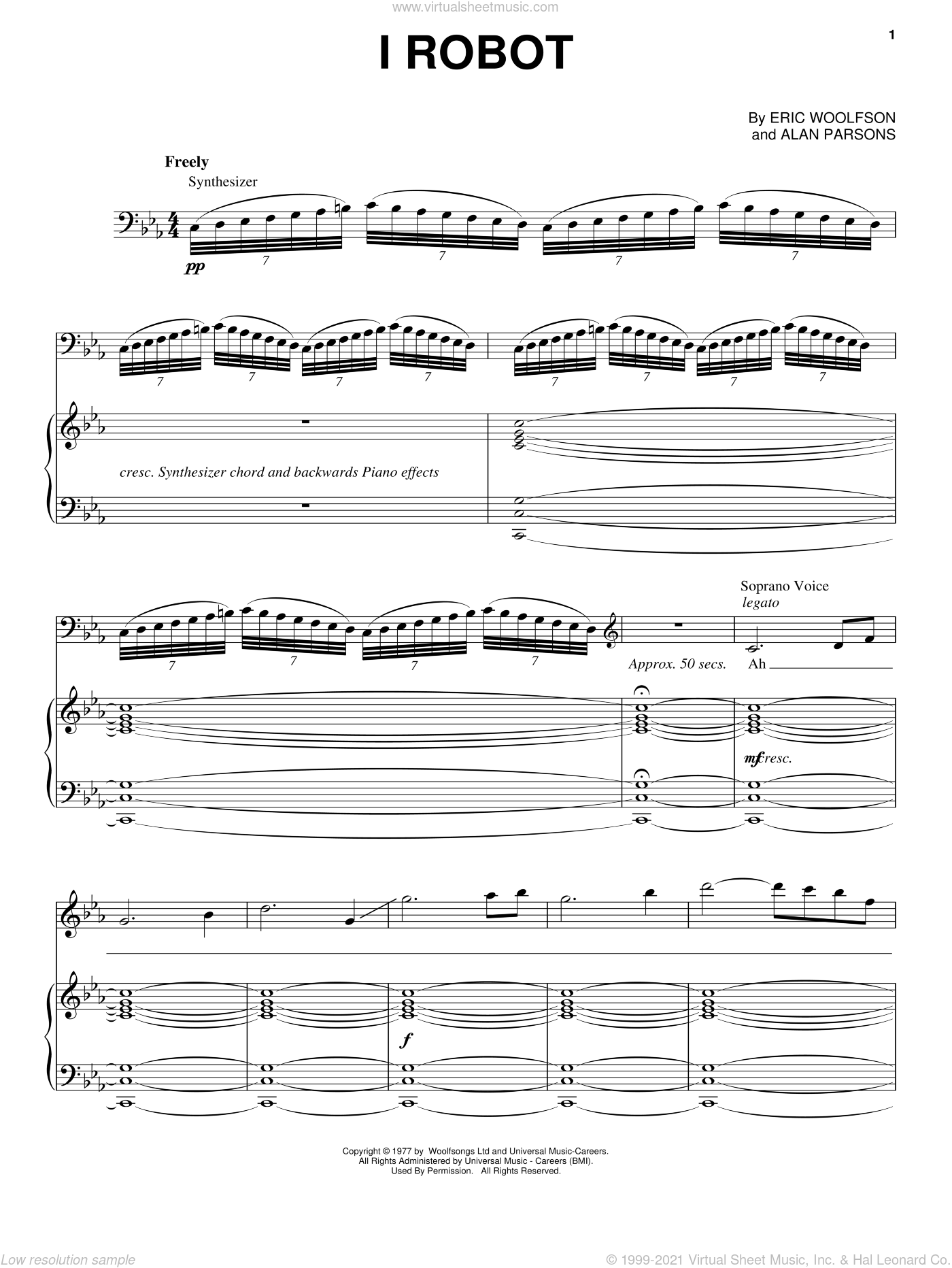 I Robot sheet music for voice, piano or guitar by Alan Parsons Project, intermediate voice, piano or guitar. Score Image Preview.