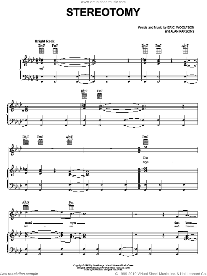 Stereotomy sheet music for voice, piano or guitar by Eric Woolfson. Score Image Preview.