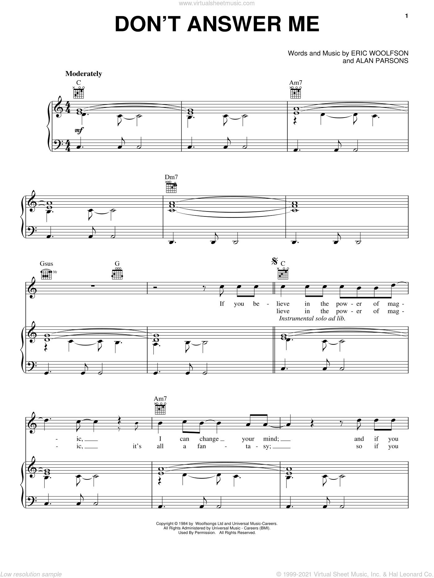 Don't Answer Me sheet music for voice, piano or guitar by Alan Parsons Project, Alan Parsons and Eric Woolfson, intermediate skill level