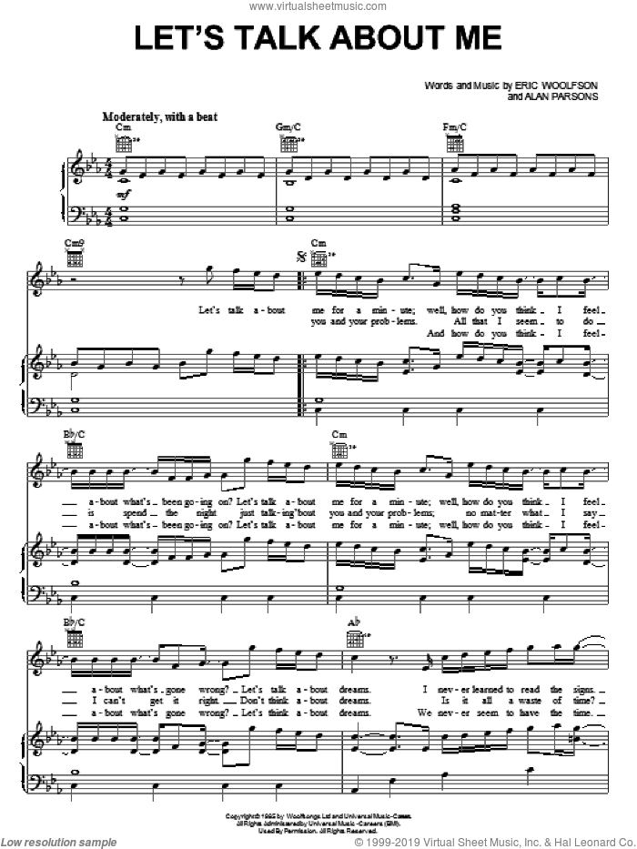 Let's Talk About Me sheet music for voice, piano or guitar by Eric Woolfson. Score Image Preview.
